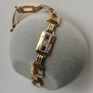 Gorgeous Art Deco 14K Diamond Ruby Linked Bracelet